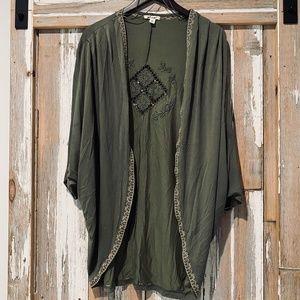 Green Boho Kimono